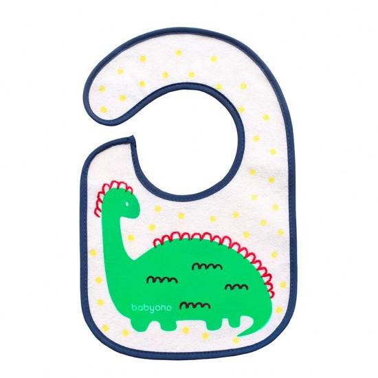 Aδιάβροχη σαλιάρα Τρώω και μεγαλώνω! 3m+ Δεινοσαυράκι Babyono