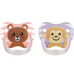 Ορθοδοντικές πιπίλες σιλικόνης Dr Brown's Prevent 2 τεμάχια αρκουδάκια ροζ