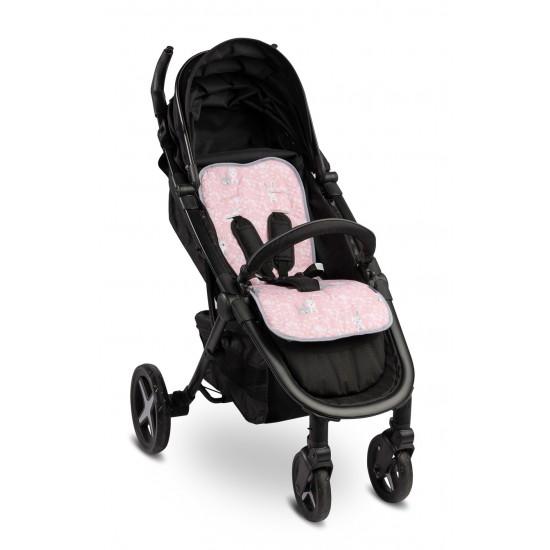 Κάλυμμα καροτσιού και καθίσματος αυτοκινήτου δυο όψεων Hares pink