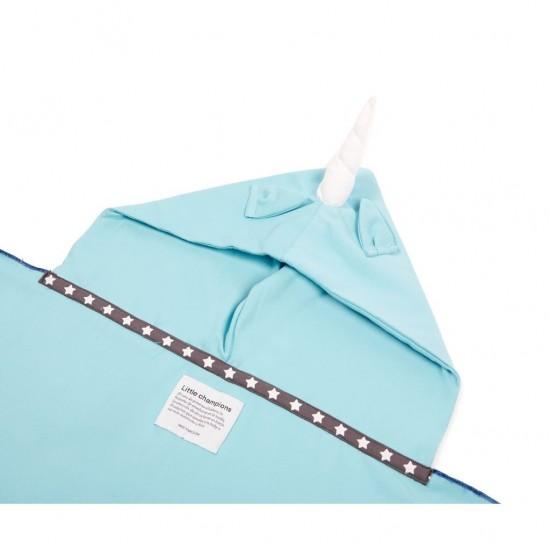 Little Champions πόντσο πετσέτα Microfiber Blue unicorn